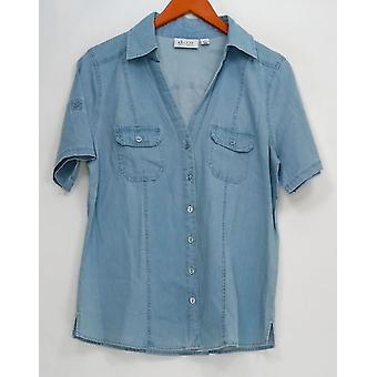 Denim & Co. Donne's Top Stretch Denim Short Sleeve Blue A252728