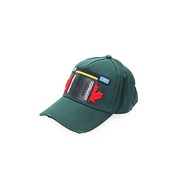 DSQUARED2 MULTICOLOR LOGO GREEN FOREST BASEBALL CAP