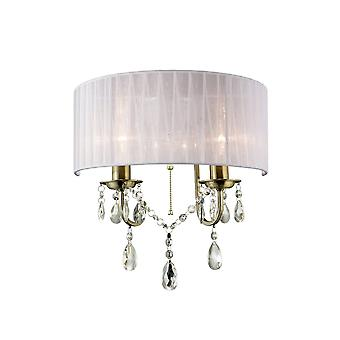 Diyas IL30064 Olivia Wall Lamp Switched With White Shade 2 Light Antique Brass/Crystal