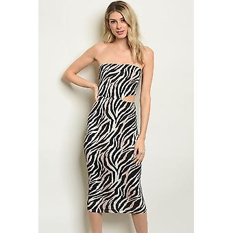 Womens black zebra animal print dress
