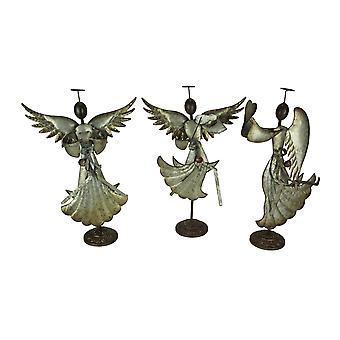 Galvaniserad metall konst Dancing Angel skulpturer Christmas Decor uppsättning av 3