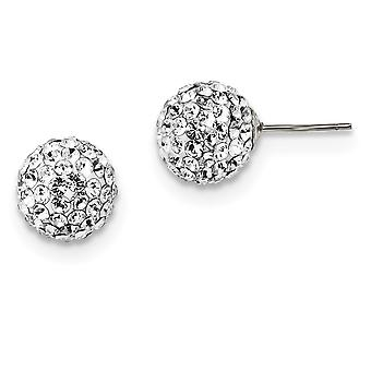 925 Sterling Argent Blanc Sworovski Cristal 10mm Boucles d'oreilles Post