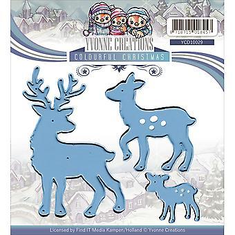 Find It Trading Yvonne Creations Die-Reindeer, Colorful Christmas