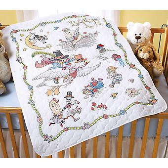 Mary Engelbreit Mother Goose Crib Cover Stamped Cross Stitch 34
