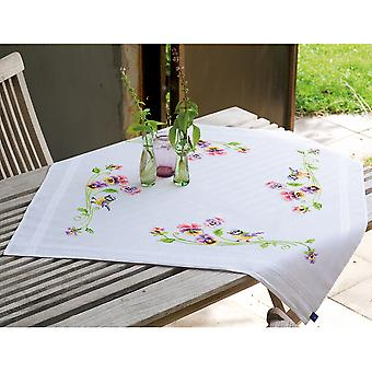 Little Birds And Pansies Tablecloth Stamped Embroidery Kit-32