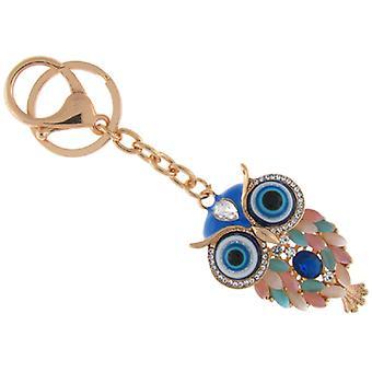 Glas und Emaille blaues Auge Eule Keyring Handtasche Charm