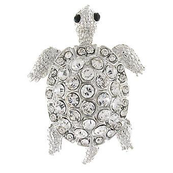 Brooches Store Silver  and  Crystal Turtle Tortoise Brooch
