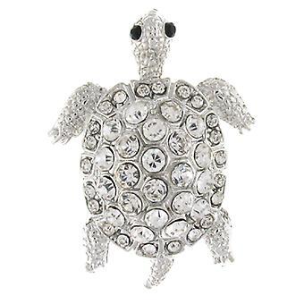 Brosjer Store sølv og Crystal Turtle skilpadde brosje