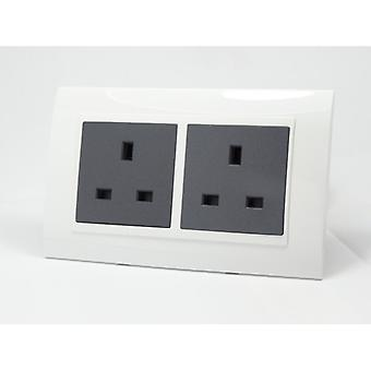 I LumoS AS Luxury White Plastic Arc Double Unswitched Wall Plug 13A UK Sockets
