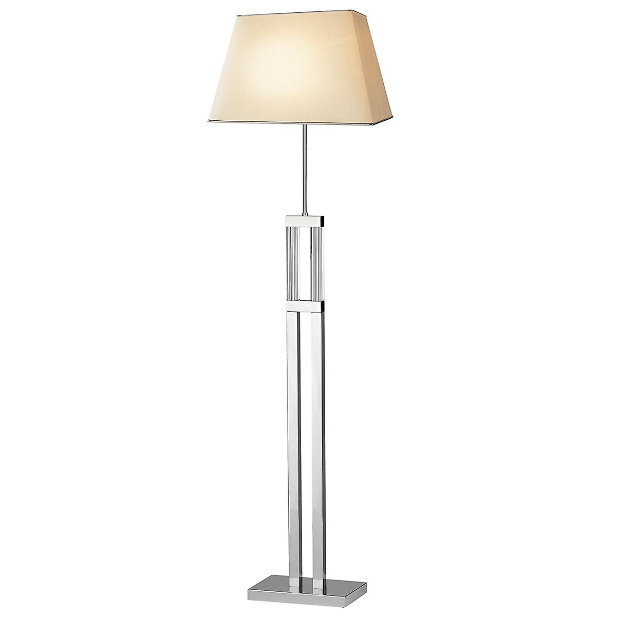 Dar DOM4950 Domain Modern Floor Lamp With Quartz Glass And Cream Linen Shade