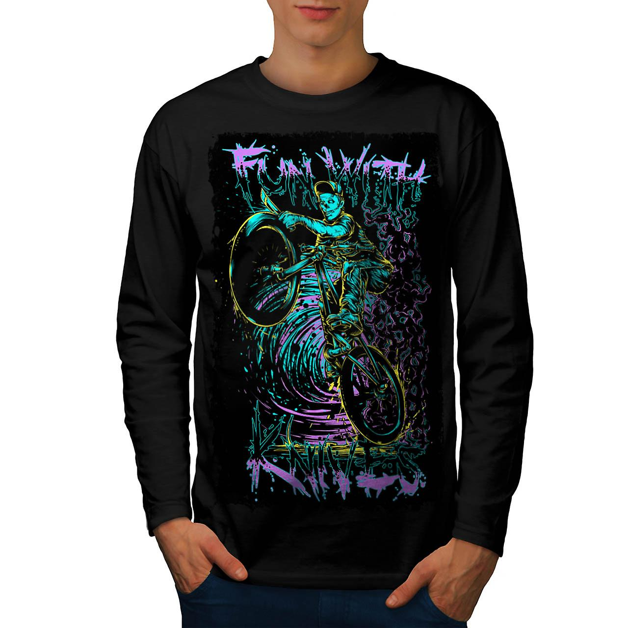 Fun With Knives Rider Zombie Bike Men Black Long Sleeve T-shirt | Wellcoda