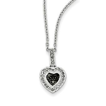 Sterling Silver Black Diamond Small Heart Pendant - .25 dwt
