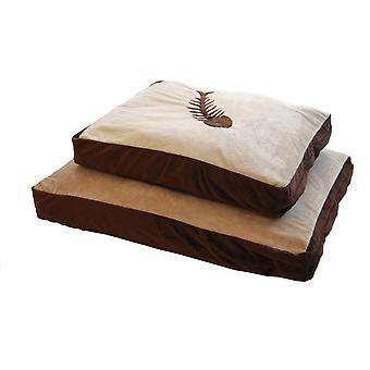 Cat Bed Fish Motif Chocolate & Cream 109x63.5cm (43x25