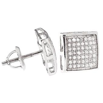 925 Silver diamond stud earrings - DOME SHAPE 0.33 ct