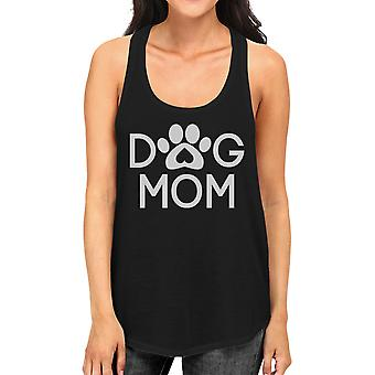 Dog Mom Women's Black Cute Dog Paw Graphic Tank Top For Dog Lovers