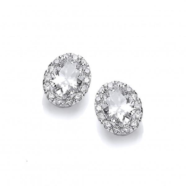 Cavendish French Little Silver and CZ Oval Stud Earrings