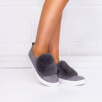 Spylovebuy Bonbon Furry Flat Loafer Shoes - Grey Suede Style
