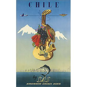 Chile by SAS Scandinavian Airlines System Poster Print Giclee