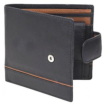 Dents Smooth Two Tone RFID Blocking Wallet - Black/Saddle Brown