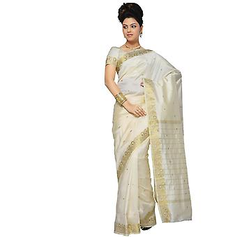 Arte seda sari Sari crema tela India oro frontera