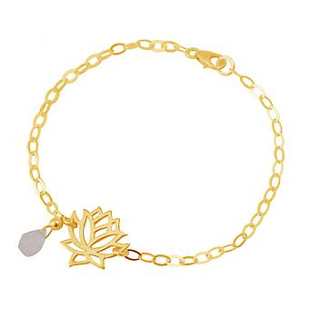Rose Quartz - drops - Rosa - YOGA women - bracelet - 925 Silver - gold plated - Lotus Flower-