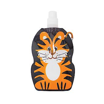 Yellowstone 375ml Kids Folding Water Bottle with Carabina Clip Tiger