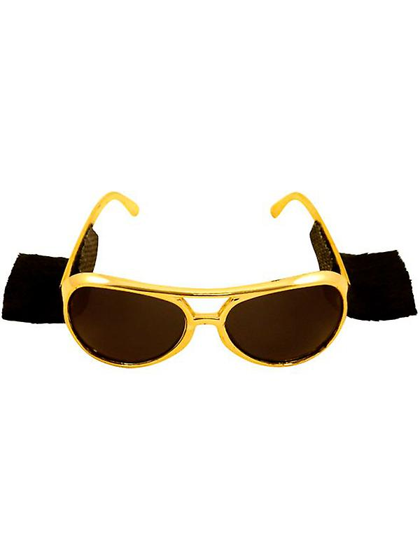 Elvis Gold 70's Glasses with Attached Side Burns