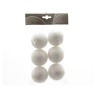 Decorative Artificial Snow Balls with Hangers Pack of 6