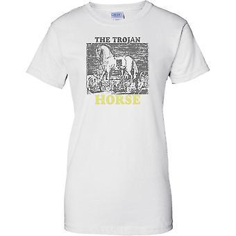 قميص السيدات تي-من وحي حرب طروادة--حصان طروادة