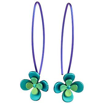 Ti2 Titanium Double Four Petal Flower Drop Earrings - Green