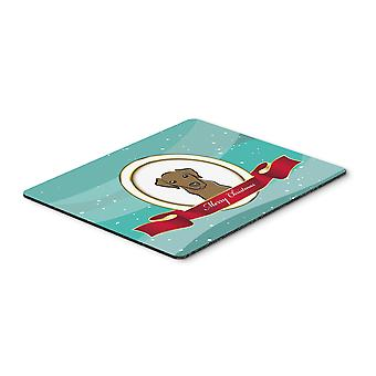 Chocolate Labrador Merry Christmas Mouse Pad, Hot Pad or Trivet