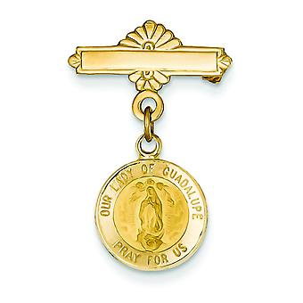 14k Yellow Gold Solid Satin Polished Flat back Not engraveable Our Lady of Guadalupe Medal Pin - Measures 26.1x17.6mm