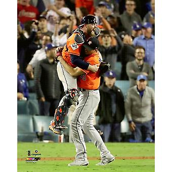 Brian McCann & Charlie Morton celebrate winning Game 7 of the 2017 World Series Photo Print