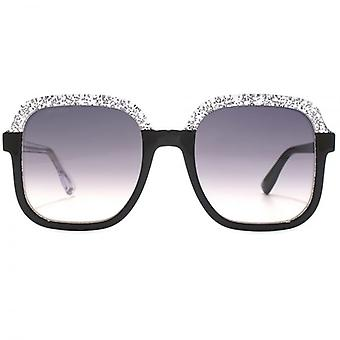 Jimmy Choo Glint Sunglasses In Black Silver Glitter
