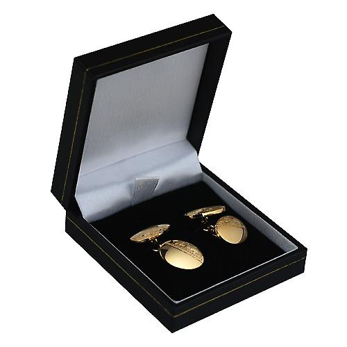 Hard Gold plated 12x17mm oval hand engraved chain Cufflinks