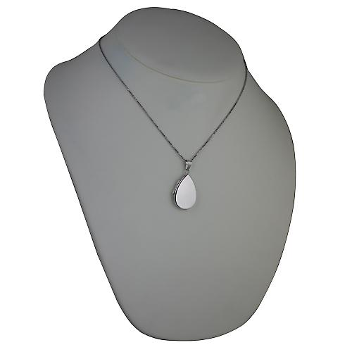 9ct White Gold 28x19mm plain flat teardrop Locket with a spiga Chain 18 inches