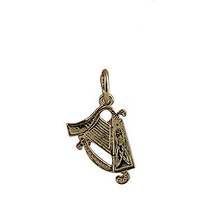 9ct Gold 15x11mm Harp Pendant or Charm