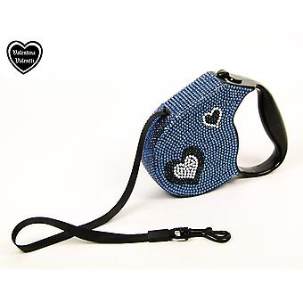 Valentina Valentti Crystallized retractable dog leads, extending leash, 5m, Blue