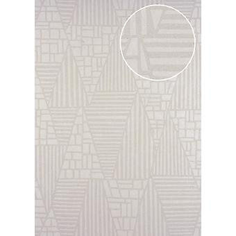 Graphic wallpaper ATLAS 5138-2 non-woven wallpaper marked with stripes shimmering cream perl-beige 7,035 m2