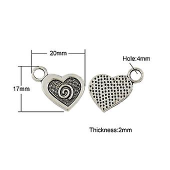 Packet 10 x Antique Silver Tibetan 20mm Heart Charm/Pendant ZX15330