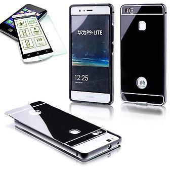 Aluminium bumper 2-piece black + 0.3 mm H9 tempered glass for Huawei P9 Lite pouch case cover