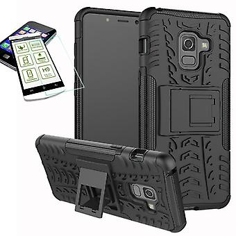 Hybrid case 2 stuk zwart voor Samsung Galaxy A8 A530F 2018 + gehard glas