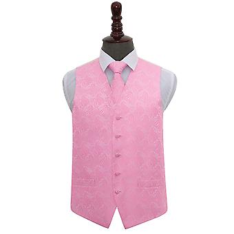 Colete de casamento bebê rosa Paisley & conjunto de gravata