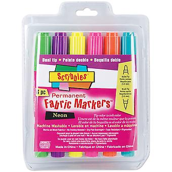 Scribbles Dual-Tip Permanent Fabric Markers 6/Pkg-Neon