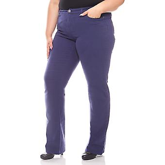 sheego ladies stretch trousers with flip long size plus size blue