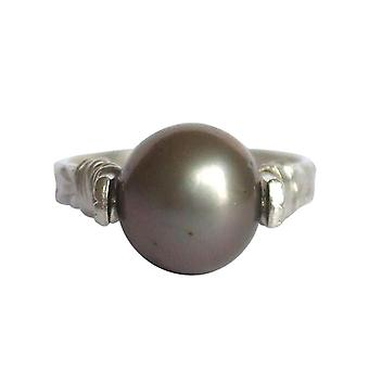 Gemshine - women's - ring - pull-ring - 925 Silver - Pearl - Tahiti - grey - 8 mm