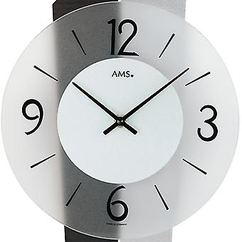 Wall clock watch quartz watch silver black aluminium glass 44 x 23 cm AMS