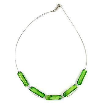 قلادة المألوف مع حبات الزجاج الأبيض الأخضر الأخضر الأبيض الاسطوانة سلسلة