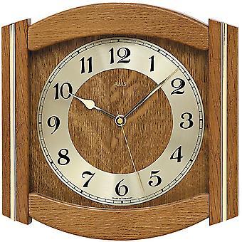 ساعة حائط ريفي مع الجدار خشب الإذاعة على مدار الساعة الزجاجية المعدنية الصلبة البلوط