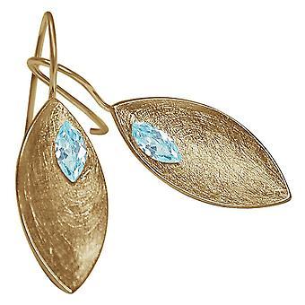 Damen - Ohrringe - Ohrhänger - 925 Silber - Vergoldet - MARQUISE - Topas - Blau - 3 cm
